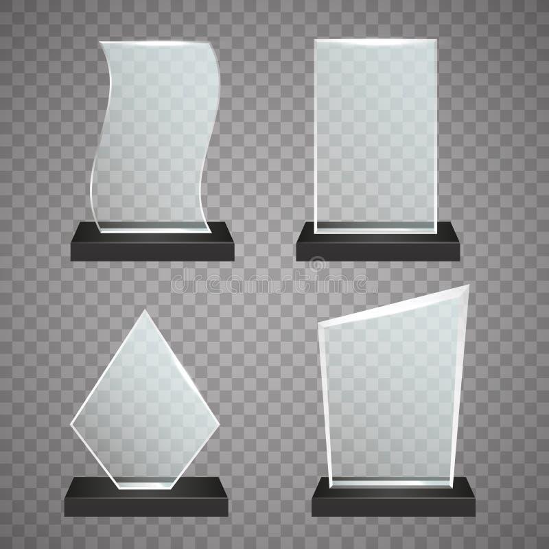 Grupo de concessões de vidro transparentes, ilustração do troféu do vetor ilustração do vetor