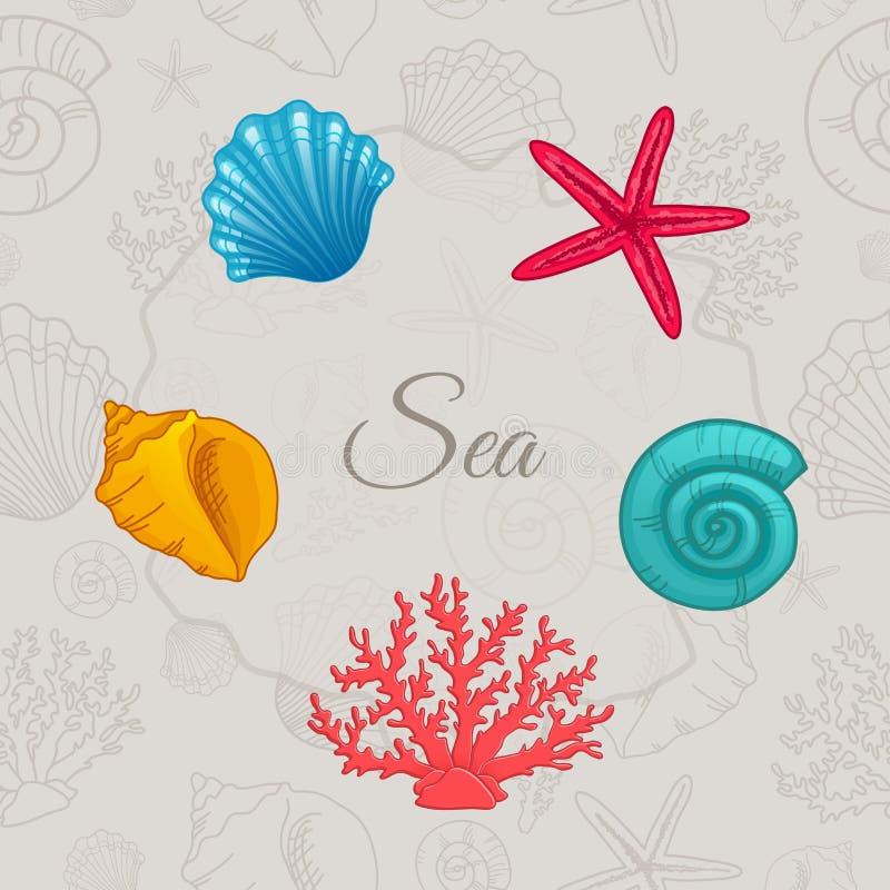 Grupo de conchas do mar coloridas com teste padrão sem emenda ilustração do vetor