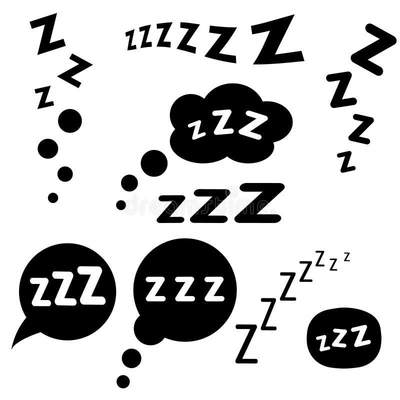 Grupo de ?cone do sono de Zzz Gr?fico da ilustra??o do vetor Isolado no fundo branco ilustração royalty free