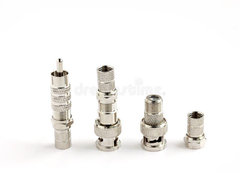 Grupo de conectores de BNC usados para o cabo coaxial fotografia de stock royalty free