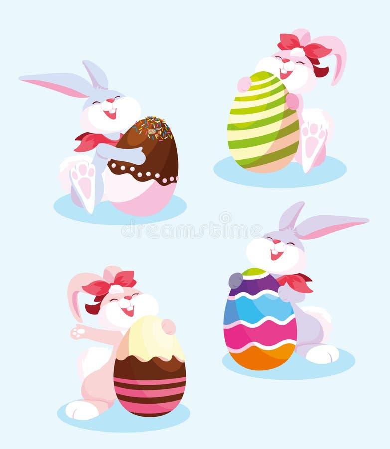 Grupo de conejos con los huevos de pascua libre illustration