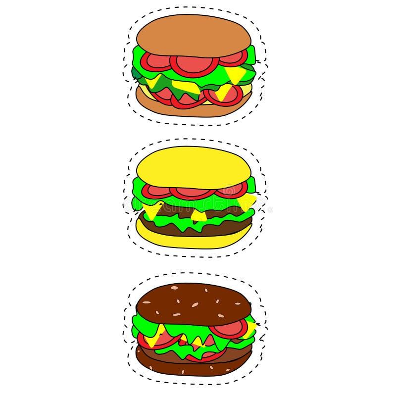 Grupo de ?cones do fast food do vetor Hamburger, cheeseburger, hamburguer dobro, hamburguer com alface, cebola, tomate, pepino e  ilustração do vetor