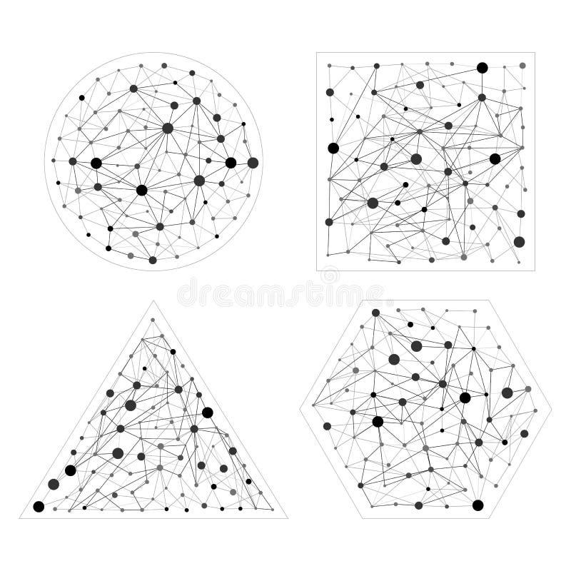 Grupo de conexão de Wireframe Hexágono, esfera, triângulo, formas quadradas com pontos e linhas Conceito da conexão ilustração do vetor