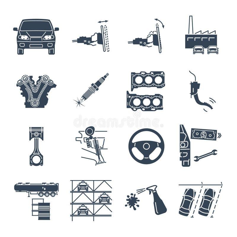 Grupo de conservação preta dos ícones, manutenção do carro e automóvel ilustração stock