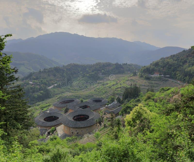Grupo de construção do tulou de Tianluokeng, adôbe rgb fotografia de stock
