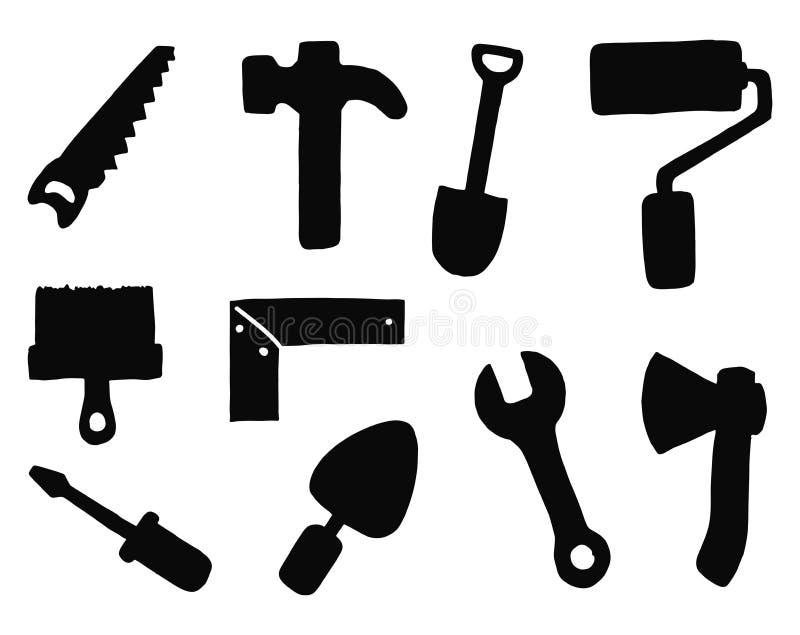 Grupo de construção dos ícones do vetor das silhuetas das ferramentas Objetos isolados ilustração do vetor