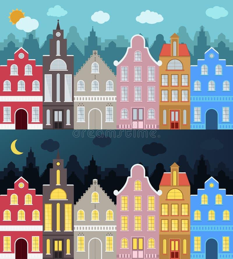 Grupo de construções coloridas dos desenhos animados do estilo europeu ilustração royalty free