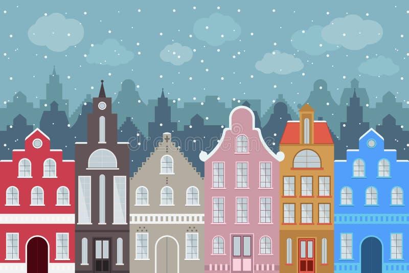 Grupo de construções coloridas dos desenhos animados do estilo europeu no inverno Casas tiradas mão isoladas para seu projeto ilustração do vetor