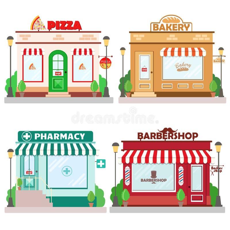 Grupo de construções dianteiras da fachada: padaria, barbeiro, pizaria e farmácia com um sinal e um símbolo no shopwindow ilustração do vetor