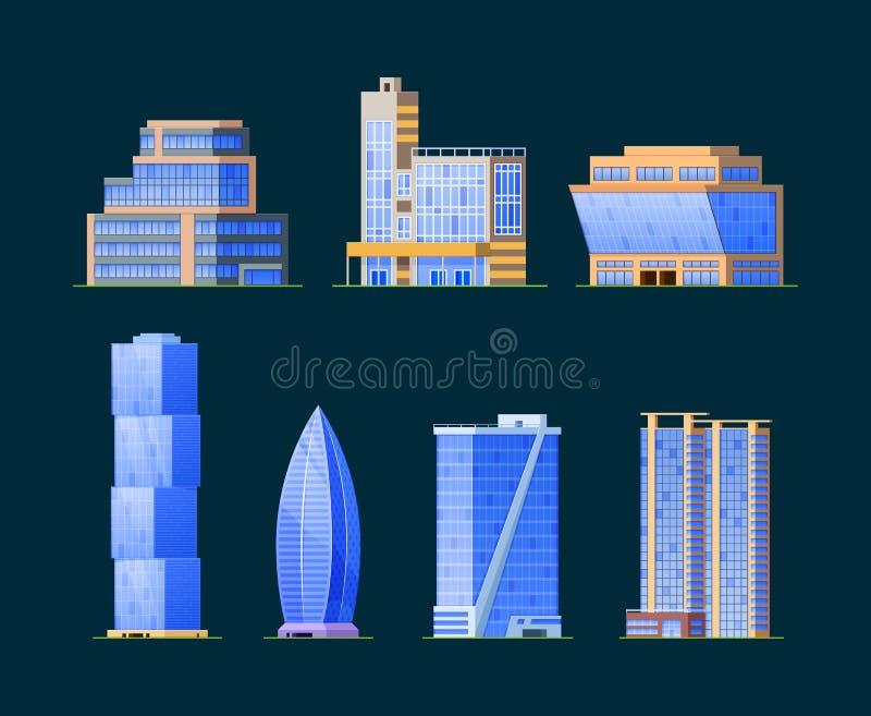Grupo de construções diferentes, estruturas arquitetónicas das fachadas Arranha-céus urbanos da arquitetura ilustração do vetor