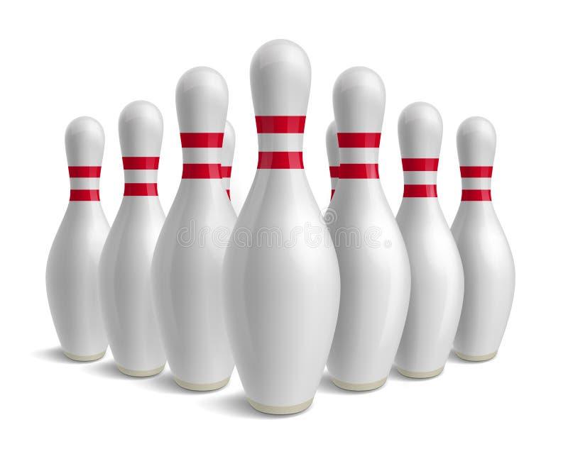 Grupo de contactos de bowling Bolos con las rayas rojas stock de ilustración