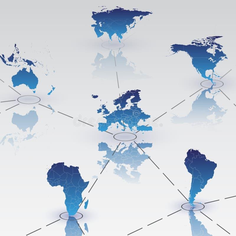 Grupo de continentes do mapa do mundo com vetor da sombra ilustração stock