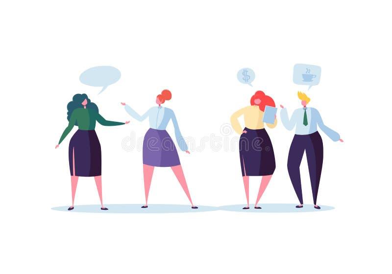 Grupo de conversa dos caráteres do negócio Povos Team Communication Concept do escritório Fala social do homem e da mulher do mer ilustração stock