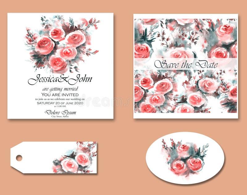 Grupo de convites bonitos desenhados à mão do casamento com elementos florais ilustração royalty free