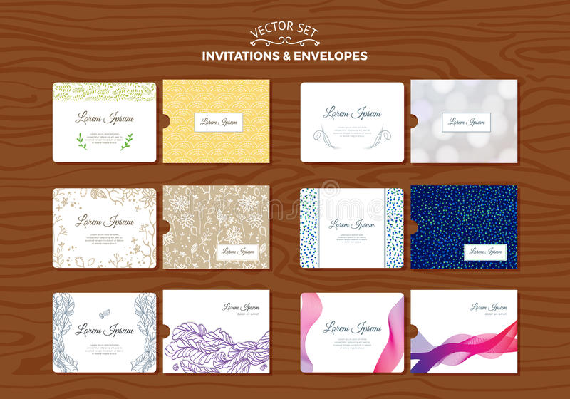 Grupo de convites do casamento com envelopes ilustração do vetor