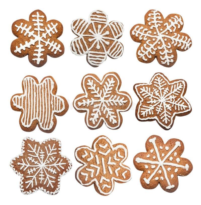 Grupo de cookie dos pão-de-espécie feito na forma de uma estrela do Natal ilustração stock