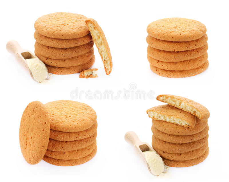 Grupo de cookies do milho doce isoladas fotografia de stock