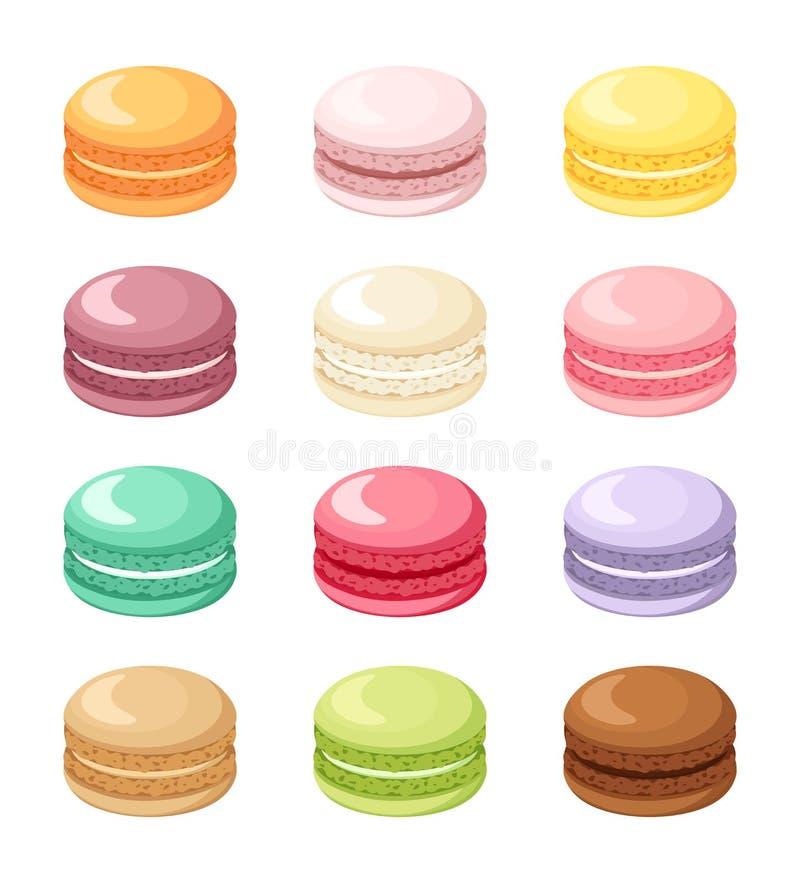 Grupo de cookies francesas coloridas do bolinho de amêndoa isoladas no branco Ilustração do vetor ilustração stock