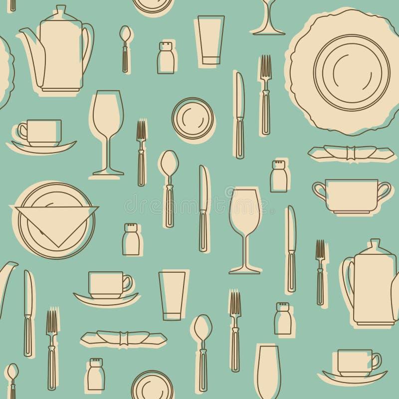 Grupo de cookware tirado mão Silhuetas de utensílios da cozinha ilustração royalty free