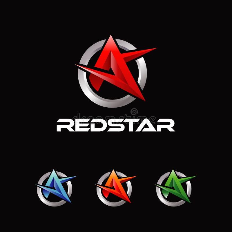 Grupo de cor abstrato da estrela da letra A da forma ilustração stock