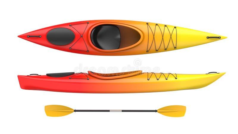 Grupo de cor amarelo-vermelha do fogo do caiaque plástico de duas vistas com remo 3D rendem, isolado no fundo branco ilustração royalty free