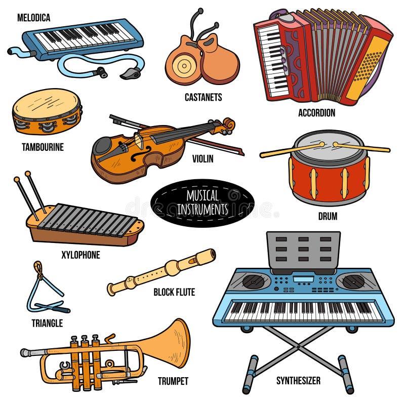 Grupo de cor com instrumentos musicais, etiquetas dos desenhos animados do vetor ilustração do vetor