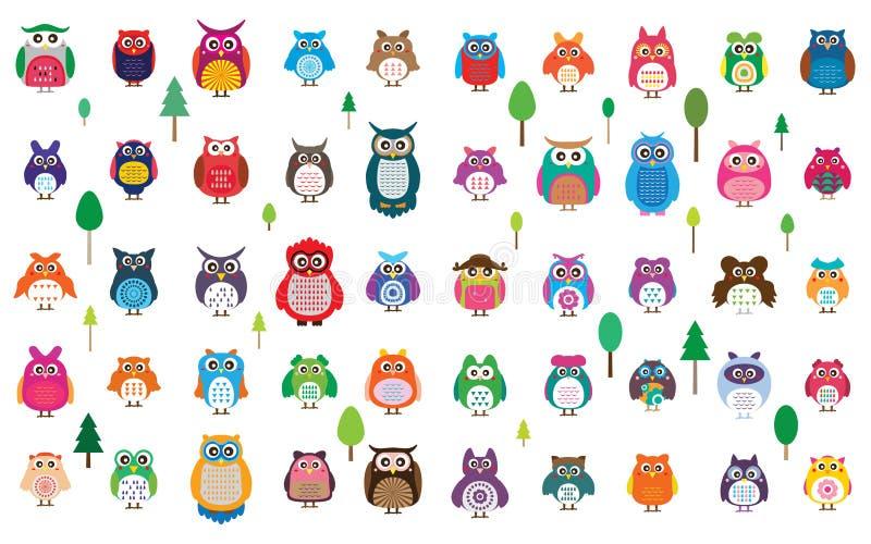 Grupo de cor da coruja 50 ilustração stock