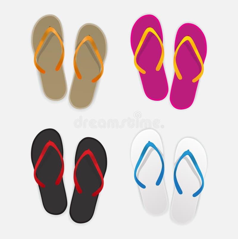 Grupo de cor da sandália no fundo branco ilustração stock