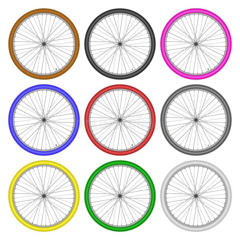 Grupo de cor diferente das rodas de bicicleta no vetor branco do fundo ilustração royalty free