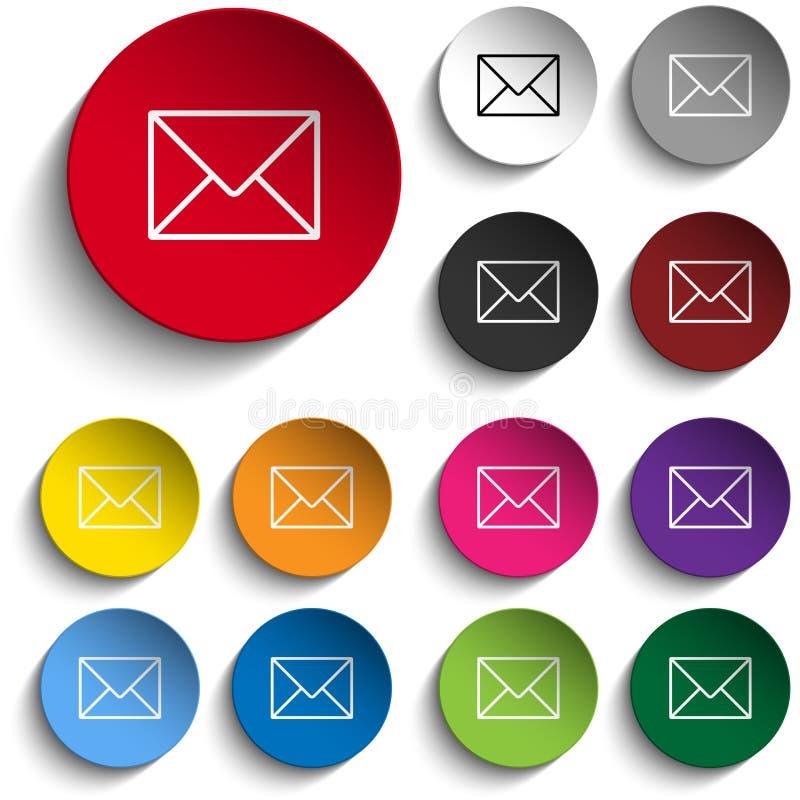 Grupo de cor do círculo do ícone do envelope do correio ilustração royalty free