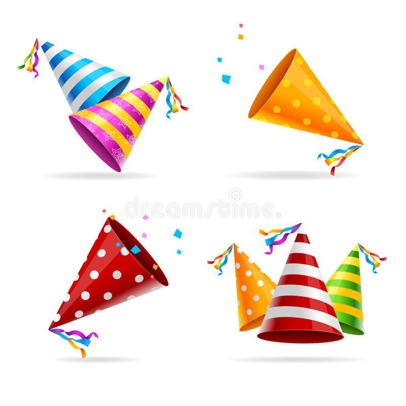 Grupo de cor do chapéu do partido Vetor ilustração royalty free