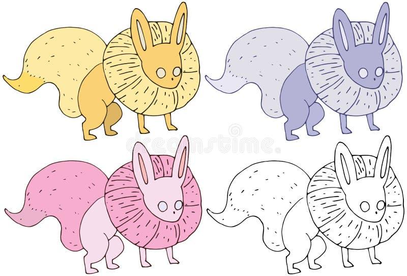 Grupo de cor feliz engraçado da tração da mão do monstro da raposa dos desenhos animados da cópia ilustração royalty free