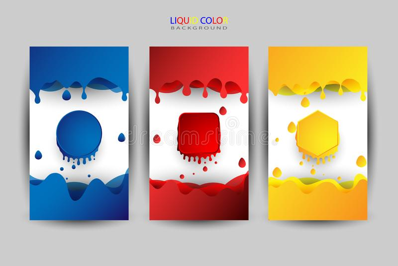 Grupo de cor líquido, várias cores como o fundo ilustração do vetor