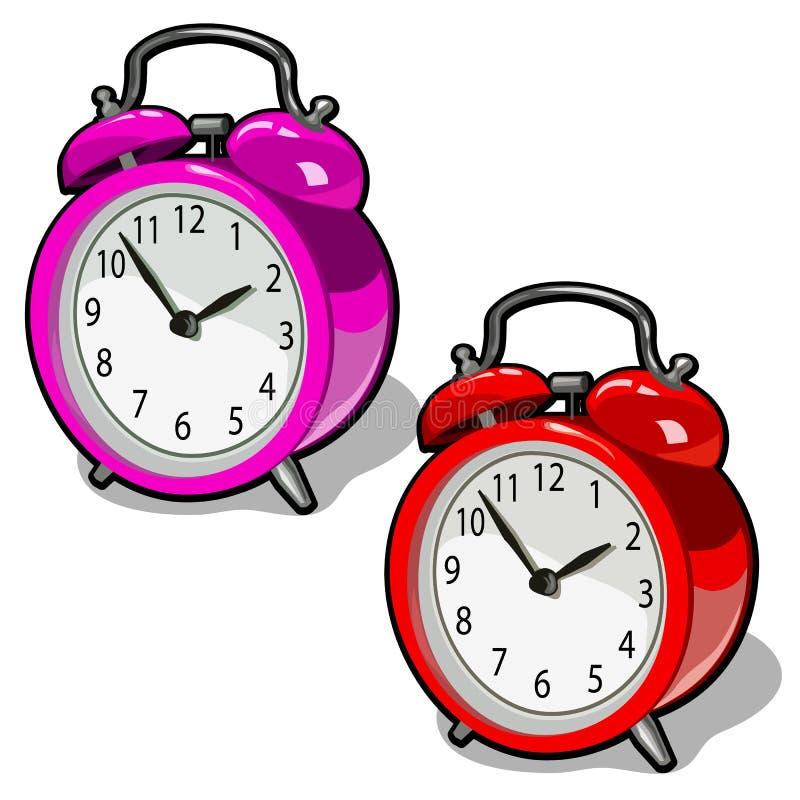 Grupo de cor cor-de-rosa e vermelha bonito do despertador do vintage isolado no fundo branco Ilustração do close-up dos desenhos  ilustração royalty free