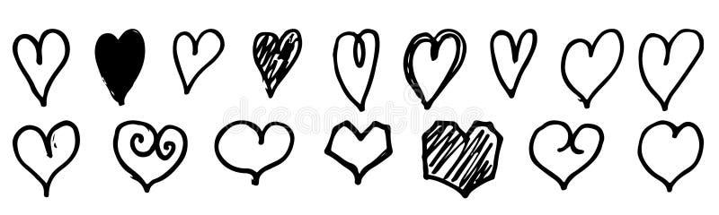 Grupo de coração tirado mão Corações ásperos Handdrawn do marcador isolados no fundo branco ilustração do vetor