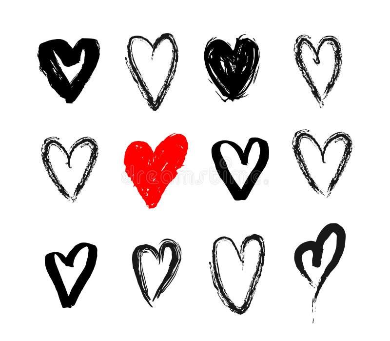 Grupo de coração tirado nove mãos Corações ásperos Handdrawn do marcador isolados no fundo branco Ilustração do vetor para o seu ilustração stock