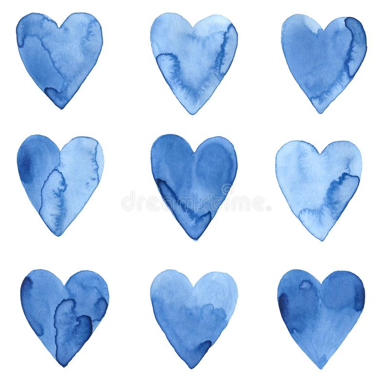 Grupo de corações azuis do watercolour ilustração royalty free