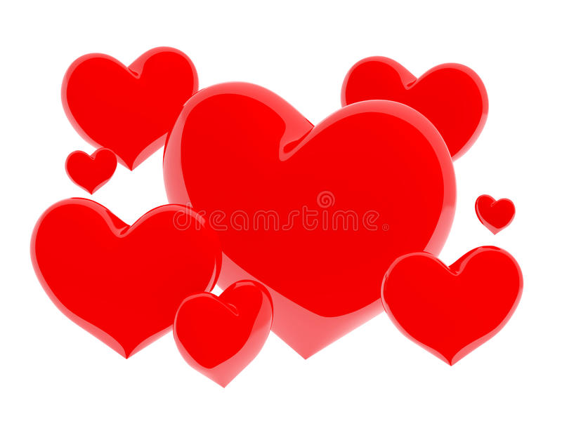Grupo de corações brilhantes vermelhos no fundo branco (3D rendem) fotografia de stock royalty free