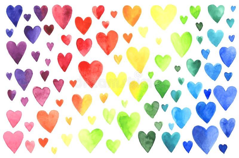 Grupo de corações da aguarela ilustração royalty free