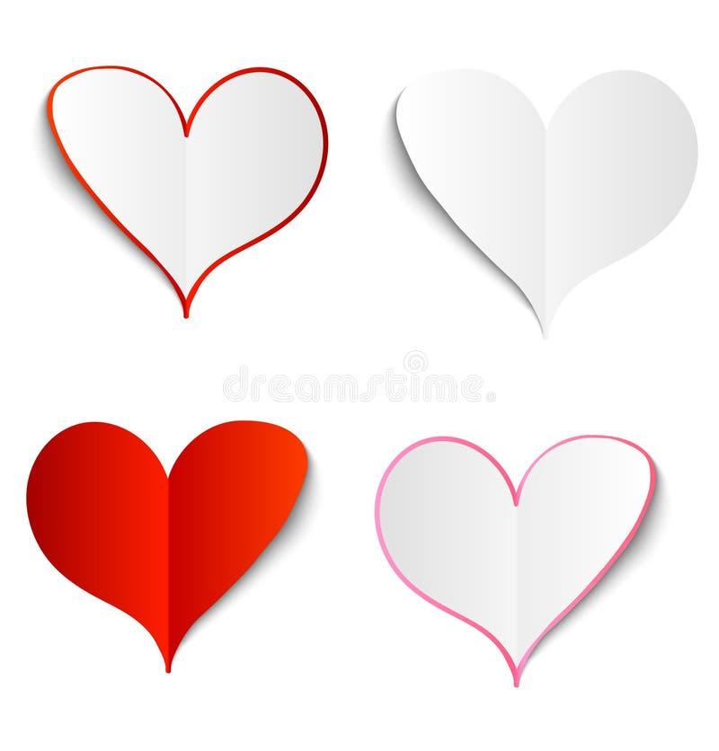 Grupo de corações do papel do vetor. ilustração stock