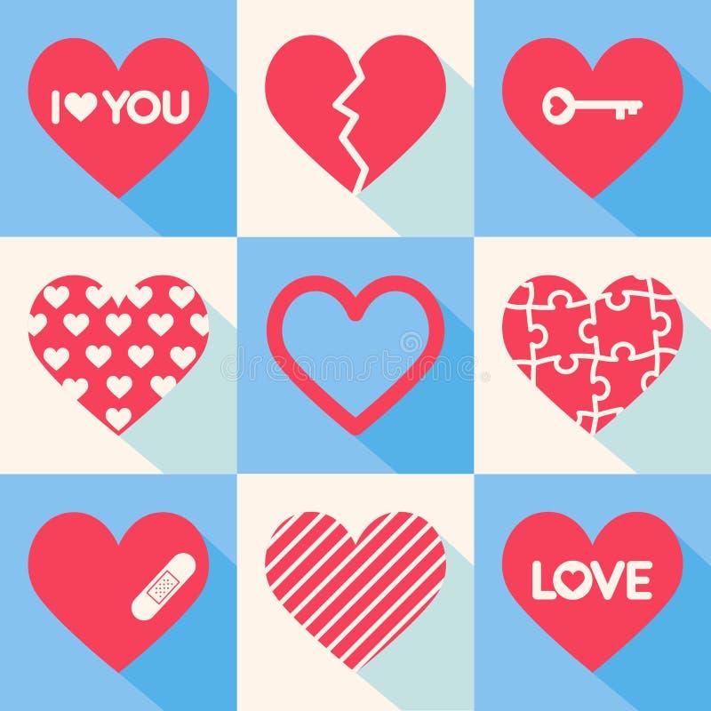 Grupo de corações do vetor Tema do dia do ` s do Valentim ilustração do vetor