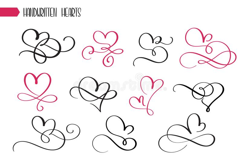 Grupo de corações esboçado tirados mão da caligrafia Coleção do flourish do estilo do grunge do vetor Ilustração da mão tirada ilustração stock