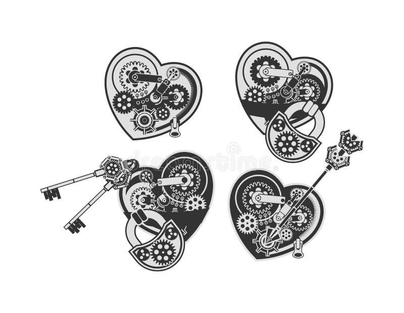 Grupo de corações mecânicos ilustração do vetor