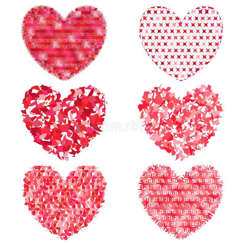 Grupo de corações multi-coloridos a decorar e projetar ilustração royalty free
