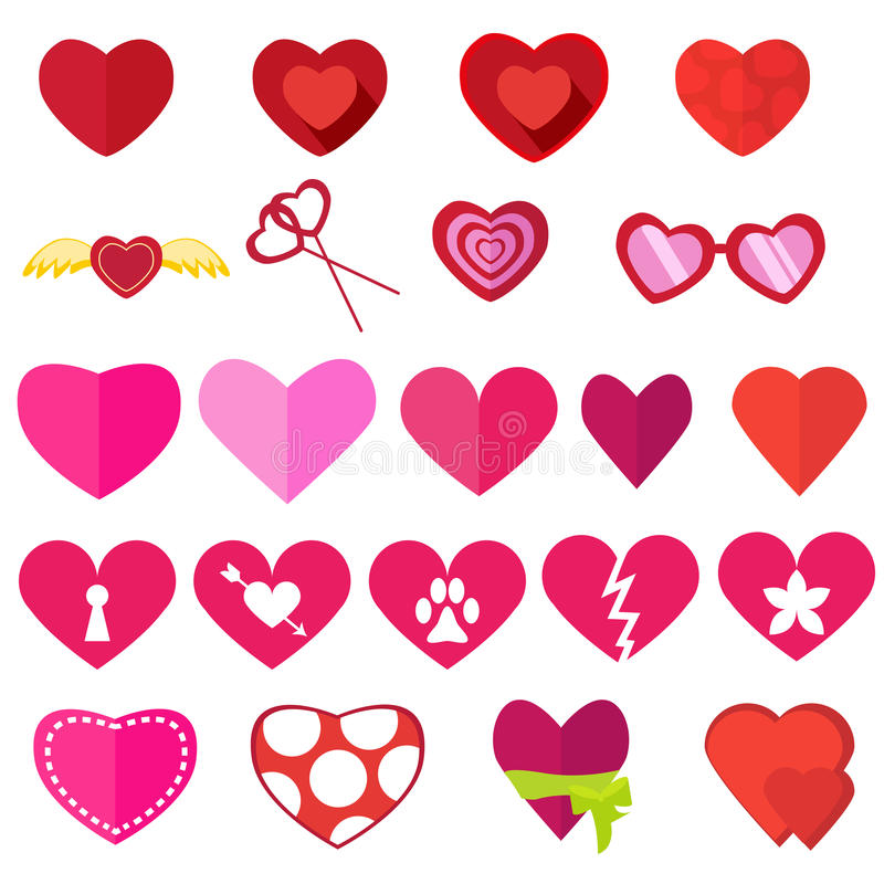 Grupo de corações para o dia do ` s do Valentim Ícones lisos do amor no fundo branco Vector a ilustração, EPS10 ilustração royalty free