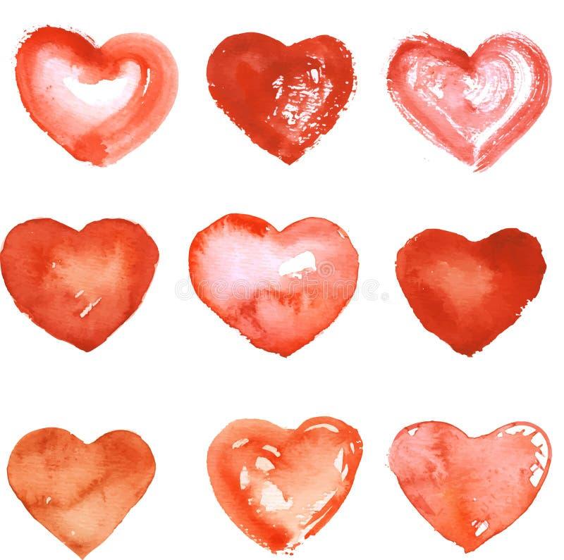 Grupo de corações tirados mão ilustração stock