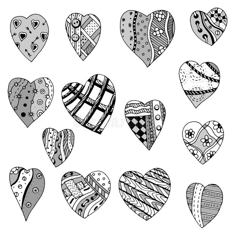 Grupo de corações tirados mão ilustração royalty free