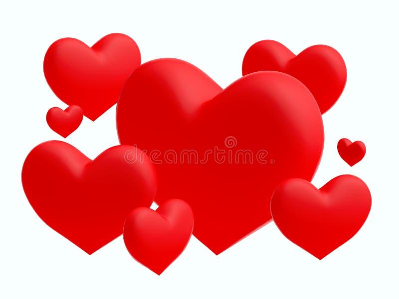 Grupo de corações vermelhos no fundo branco (3D rendem) foto de stock royalty free