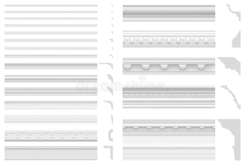 Grupo de cornijas e de frisos isolados no fundo branco visualização 3D do estuque da gipsita Textura sem emenda do pli branco clá ilustração royalty free