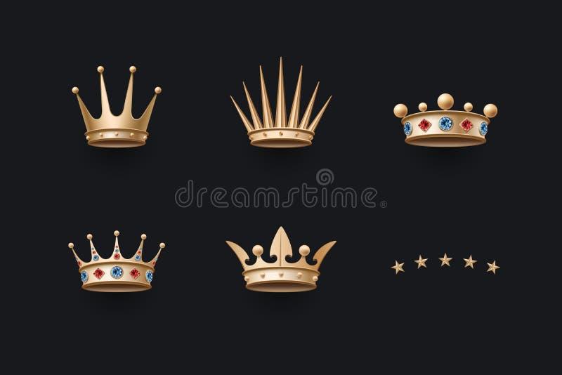 Grupo de coroa real do ouro e de cinco ícones das estrelas ilustração royalty free
